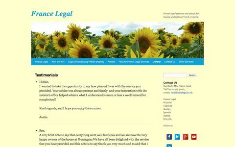 Screenshot of Testimonials Page francelegal.co.uk - Testimonials | France Legal - captured June 6, 2017