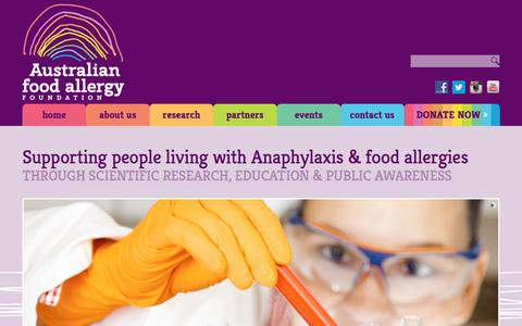 Screenshot of Home Page foodallergy.org.au - Australian Food Allergy Foundation | - captured June 13, 2016