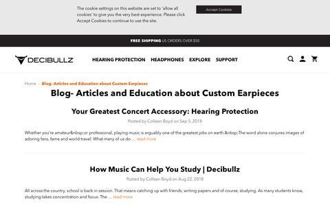 Screenshot of Blog decibullz.com - Blog-  Articles and Education about Custom Earpieces - captured Oct. 8, 2018