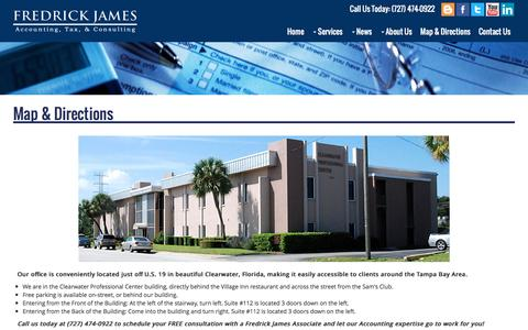 Screenshot of Maps & Directions Page fredrickjames.com - Fredrick James | Map & Directions to our tax accounting office in Clearwater, Florida - captured Nov. 25, 2016
