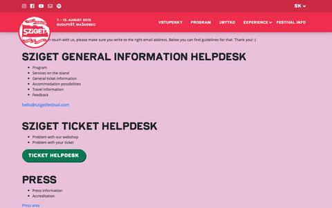 Screenshot of Contact Page szigetfestival.com - Contact us - captured Oct. 22, 2018