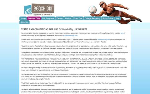 Screenshot of Terms Page beachdig.com - TERMS AND CONDITIONS FOR USE OF Beach Dig LLC WEBSITE   Beach Dig - captured Oct. 5, 2014