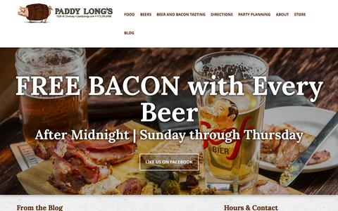 Screenshot of Home Page paddylongs.com - Paddy Long's Beer and Bacon Pub in Chicago - captured Sept. 30, 2015
