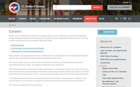 Screenshot of Jobs Page uschamber.com - Careers | U.S. Chamber of Commerce - captured Sept. 19, 2014