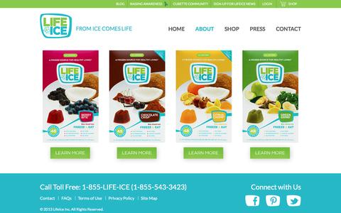 Screenshot of Products Page lifeice.com - About The Products - captured Aug. 31, 2016