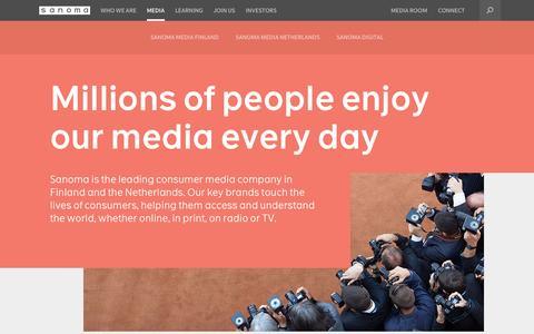 Screenshot of Press Page sanoma.com - Media – Section Frontpage | Sanoma - captured Nov. 1, 2014