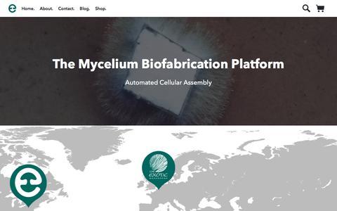 Screenshot of Home Page ecovativedesign.com - Home        Mycelium Biofabrication Platform   Ecovative   Green Island, New York - captured July 12, 2018