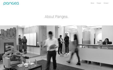 Screenshot of About Page gopangea.com - About | Pangea - captured July 19, 2014