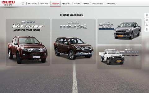 Screenshot of Products Page isuzu.in - Products - captured July 11, 2017