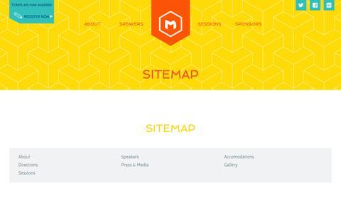 Screenshot of Site Map Page m3conf.com - 2014 M3 Conference | Sitemap - captured Nov. 2, 2014