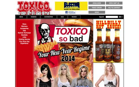 Screenshot of Home Page toxico.co.uk - Toxico Clothing, Tattoo, Punk, Hotrod & Metal Clothing & Accessories - captured Oct. 7, 2014