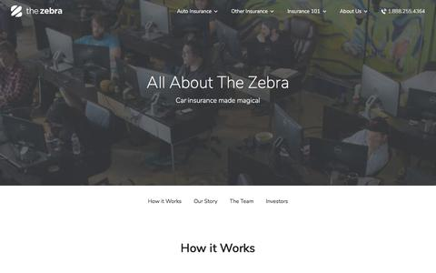 Screenshot of About Page thezebra.com - About | The Zebra - captured Jan. 15, 2018