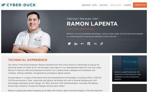 Screenshot of Team Page cyber-duck.co.uk - Ramon Lapenta - Senior Front End Developer | Cyber-Duck - captured July 11, 2017
