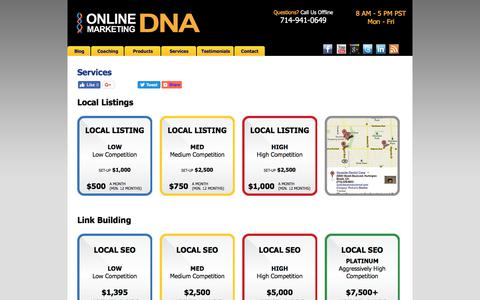 Screenshot of Services Page onlinemarketingdna.com - Online Marketing Services - SEO Local Listings Video Marketing Strategy - Online Lead Generation - captured Nov. 13, 2017