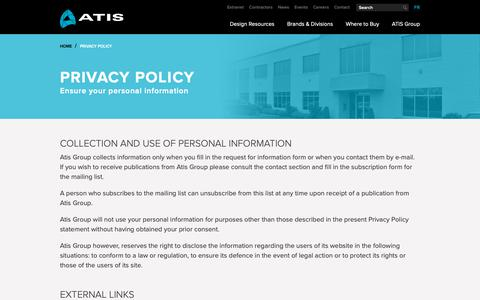 Screenshot of Privacy Page atisgroup.ca - ATIS - Privacy Policy - captured Oct. 4, 2018