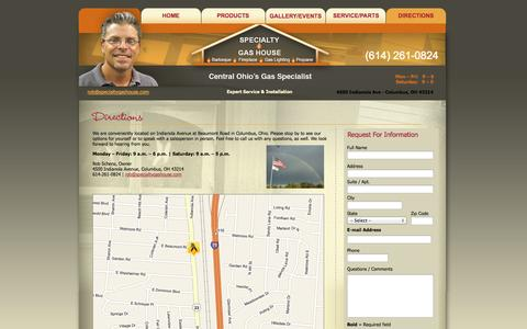Screenshot of Maps & Directions Page specialtygashouse.com - Specialty Gas House - Directions - captured Sept. 30, 2014