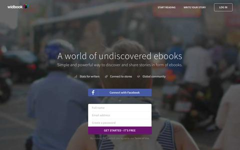 Screenshot of Home Page widbook.com - Widbook | A world of undiscovered ebooks - captured July 3, 2015