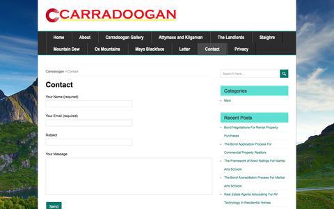 Screenshot of Contact Page carradoogan.com - Contact - captured June 28, 2018