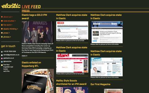 Screenshot of Press Page getelastic.co.uk - Elastic bags a GOLD IPM award! » Elastic - captured Oct. 2, 2014