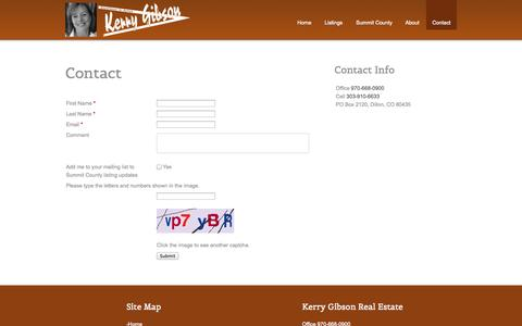 Screenshot of Contact Page kerrygibson.com - Kerry Gibson Real Estate :: Contact - captured Oct. 6, 2014