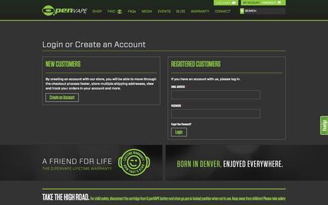 Screenshot of Login Page openvape.com - Customer Login - captured Oct. 27, 2014
