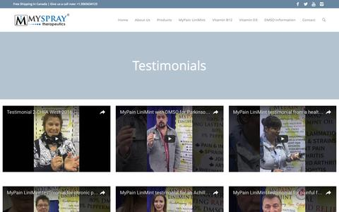 Screenshot of Testimonials Page myspray.ca - Myspray | Unmatched Pain Relief |   Testimonials - captured Nov. 30, 2016