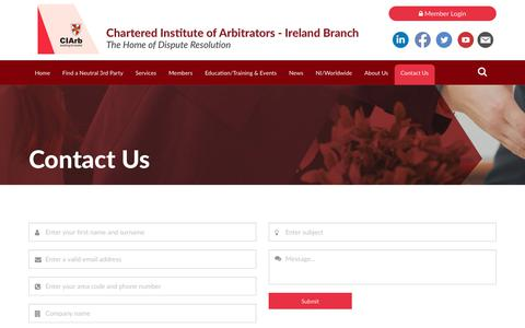 Screenshot of Contact Page ciarb.ie - Contact Us - captured Jan. 25, 2018