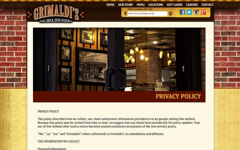 Screenshot of Privacy Page grimaldispizzeria.com - Grimaldi's Coal Brick-Oven Pizzeria with locations in Arizona, California, Colorado, Florida, Nevada, South Carolina and Texas - captured Sept. 18, 2014