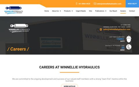 Screenshot of Jobs Page winnelliehydraulics.com - Careers   Job recruitment, staff development and training - captured Sept. 21, 2018