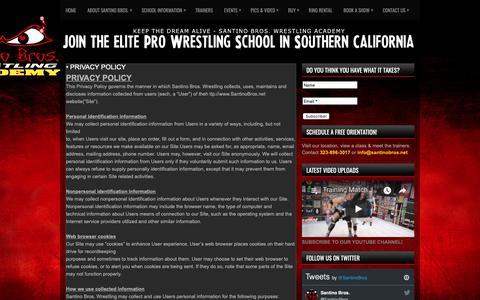 Screenshot of Privacy Page santinobros.net - • PRIVACY POLICY – Santino Bros. Wrestling Academy - captured Oct. 1, 2018