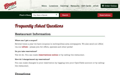 Screenshot of Contact Page bucadibeppo.com - Frequently Asked Questions About Buca Di Beppo Italian Restaurants - captured Aug. 4, 2018