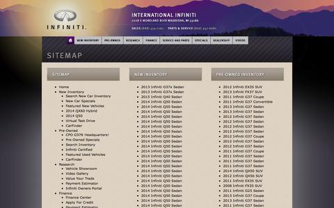 Screenshot of Site Map Page internationalinfiniti.com - International Infiniti | Vehicles for sale in Waukesha, WI 53186 - captured Oct. 4, 2014
