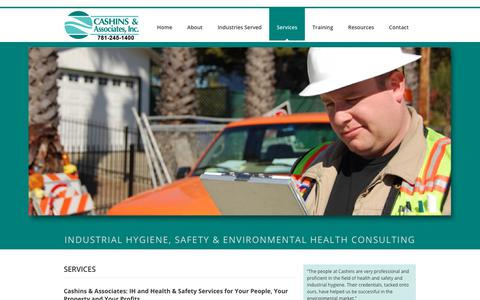 Screenshot of Services Page cashins.com - Environmental & Industrial Health & Safety Services Boston MA | Cashins & Associates, Inc. - captured Sept. 27, 2018
