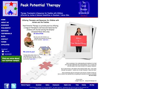 Screenshot of Home Page peakpotentialtherapy.com - Therapy Options for Special Needs Kids - captured June 21, 2015