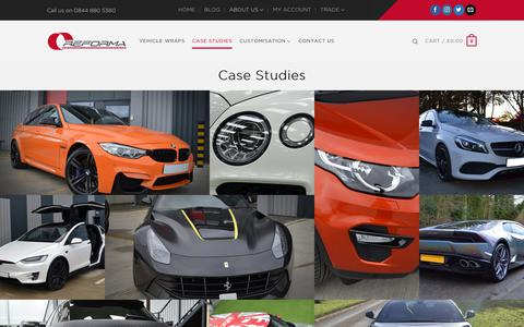 Screenshot of Case Studies Page reforma-uk.com - Vehicle Customisation by Reforma UK - View our Case Studies - captured Sept. 20, 2018