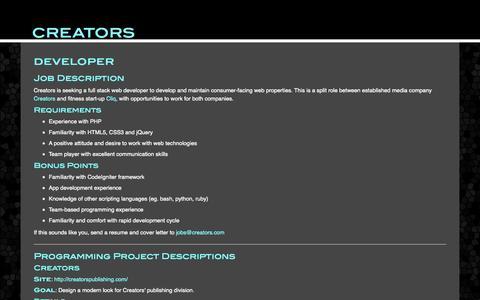 Screenshot of Developers Page creators.com - Jobs at Creators - captured Nov. 2, 2014