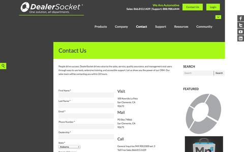 Screenshot of Contact Page dealersocket.com - Contact Us - DealerSocket - captured Sept. 15, 2014