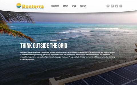 Screenshot of Home Page bonterrasolar.com - Bonterra Solar Hawaii | Renewable Energy & Solar Power - captured Dec. 1, 2015