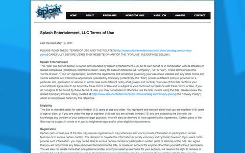 Screenshot of Terms Page zerolag.com - Splash Entertainment, LLC Terms of Use | Splash Entertainment, LLC. - captured Oct. 26, 2014