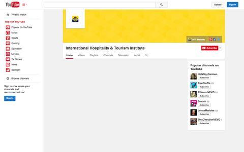 Screenshot of YouTube Page youtube.com - International Hospitality & Tourism Institute  - YouTube - captured Oct. 23, 2014