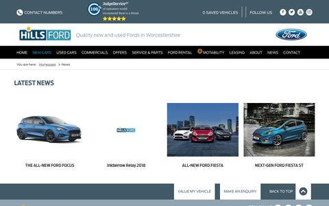 Screenshot of Press Page hillsford.co.uk - Ford News | Worcestershire | Hills Ford - captured July 20, 2018