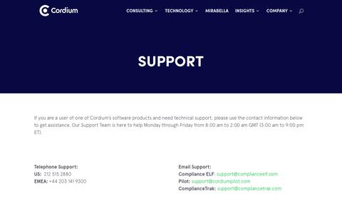 Screenshot of Support Page cordium.com - Support: Compliance Software & Consulting - Cordium - captured May 18, 2018