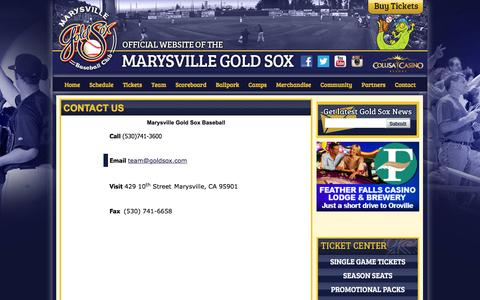 Screenshot of Contact Page goldsox.com - Official Website of the Marysville Gold Sox: Contact Us - captured Feb. 12, 2016