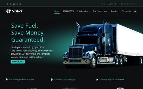 Screenshot of Home Page startfuelsavings.com - START Fuel Efficiency & Emissions Device (FEED) Fuel & Emission Saver - captured Oct. 7, 2014