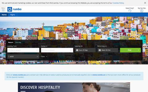 Screenshot of Home Page rumbo.com - Flights, Hotels, Breaks and Holidays - Rumbo - captured Sept. 21, 2018