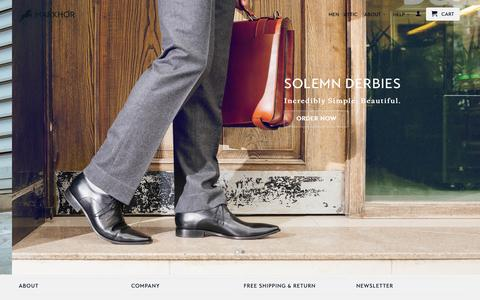 Screenshot of Home Page themarkhor.com - Markhor: High Quality. Handcrafted Shoes - captured Feb. 5, 2016