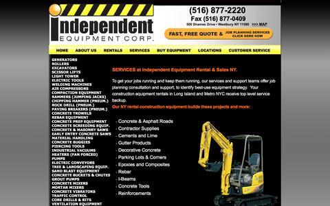 Screenshot of Services Page iecrentalny.com - Rent Equipment in NY -Generator, Roller & Excavator Rentals NY - Independent Equipment Westbury - captured April 9, 2016