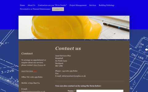 Screenshot of Contact Page assetservicesplus.co.uk - Asset Services Plus - providing professional services to the property and construction sectors. - Contact Us - captured Dec. 26, 2015