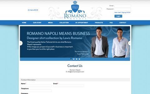Screenshot of Contact Page romanonapoli.com - Romano Napoli -  Contact Us - captured Sept. 30, 2014