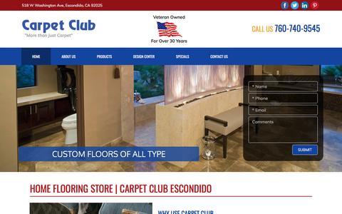 Screenshot of Home Page carpetclub.com - Residential Flooring Showroom San Diego | Carpet Club - captured May 14, 2017